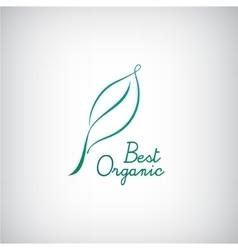 Eco bio logo line green leaf vector