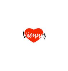 European capital city vienna love heart text logo vector