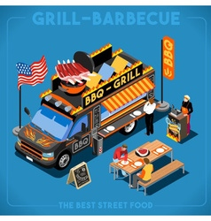 Food Truck 01 Vehicle Isometric vector image