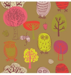 forest with owls vector image vector image