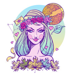 girl symbolizes the zodiac sign virgo pastel goth vector image vector image