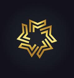 Gold geometry star logo vector