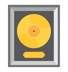 Golden vinyl in frame on wall vector image