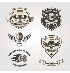 Grand prix racing motorclub emblems set isolated vector image