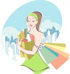grocery shopping vector image vector image