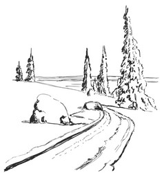 Hand drawing winter forest with road isolated vector