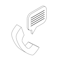 Handset with speech bubble icon isometric 3d style vector