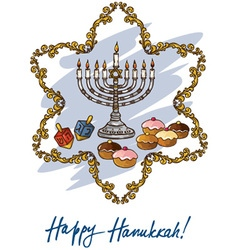 Hanukkah menorah with candle and doughnut vector image