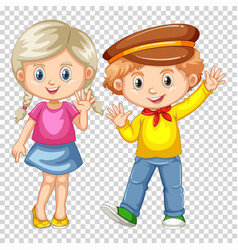 Happy boy and girl waving vector