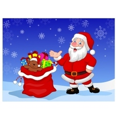 Happy Santa Clause with gift waving hand vector image vector image