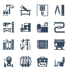 Home repair black icons collection vector