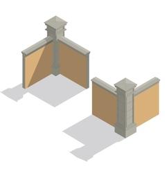 Isometric fence set construction kit vector