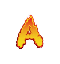 letter a fire flames font lettering tattoo vector image