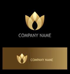 Lotus flower beauty gold logo vector