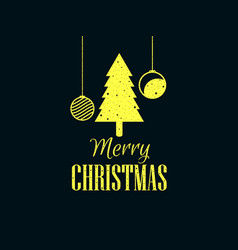 merry christmas christmas tree and hanging balls vector image vector image