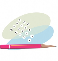 pencil and calculator vector image vector image