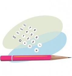 pencil and calculator vector image vector image