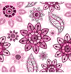 Pink floral seamless grunge pattern vector image