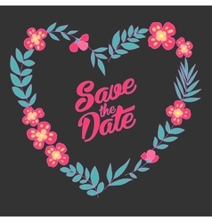 Save the date floral heart card vintage wedding vector