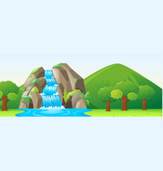 scene with waterfall and forest vector image