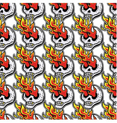 seamless pattern with skull fire psychedelic vector image