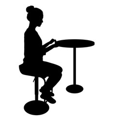 Silhouette girl sitting on a chair white vector
