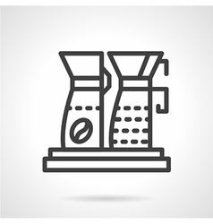 Simple line coffee machine icon vector image