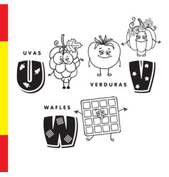 Spanish alphabet grapes vegetables waffles vector