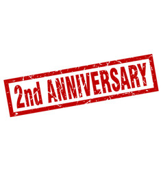 Square grunge red 2nd anniversary stamp vector