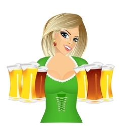 woman with six froth beer mugs vector image vector image