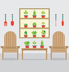 Wooden Garden Chairs And Pot Plants vector image vector image