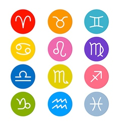 Zodiac Horoscope Circle Symbols in Retro Colors vector image