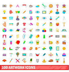 100 artwork icons set cartoon style vector image vector image