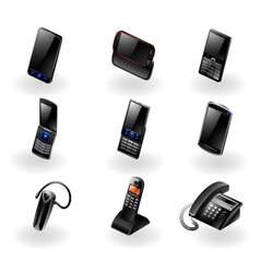 Electronics icon set - Phones and communication vector image