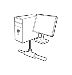 Computer monitor and cpu unit icon outline style vector