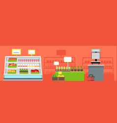 Grocery shop interior concept vector
