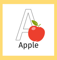 Apple and letter a coloring page vector