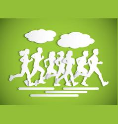 Flat running people sport maraphone cutout vector