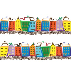 Old town with colored houses and paving stone vector