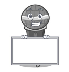 Grinning with board microphone cartoon character vector