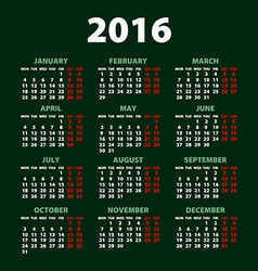 2016 calendar simple design art date color vector image