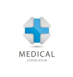 3d blue cross medical icon vector