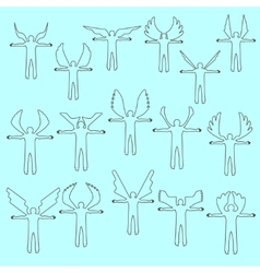 Angels linear icon set different wing styles vector