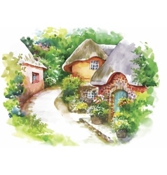 Watercolor rural village in green summer day vector