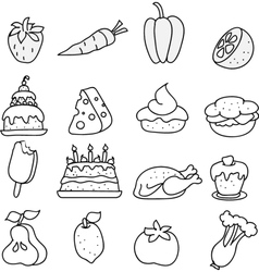 Set of meal icons black and white vector