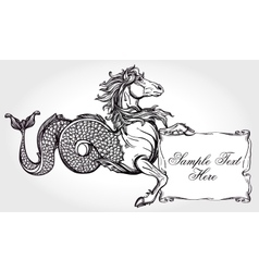 Hippocampus with scroll for your text vector