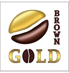 Golden coffee bean vector