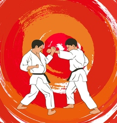 two boys demonstrate karate vector image