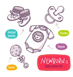 Line art icon set with baby products for newborns vector