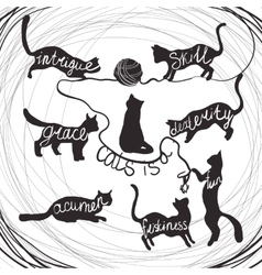 Cat quotes calligraphy lettering set on black cats vector
